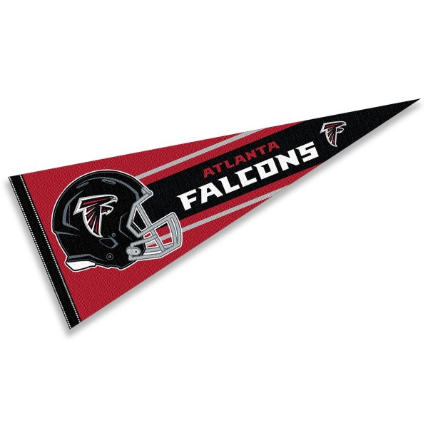 This Atlanta Falcons Football Pennant measures 12x30 inches, is constructed of felt, and is single sided screen printed with the Atlanta Falcons logo and helmets. This Atlanta Falcons Football Pennant is a NFL Officially Licensed product.