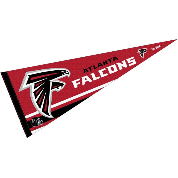 This Atlanta Falcons Full Size Pennant is 12x30 inches, is made of premium felt blends, has a pennant stick sleeve, and the team logos are single sided screen printed. Our Atlanta Falcons Full Size Pennant is NFL Officially Licensed.