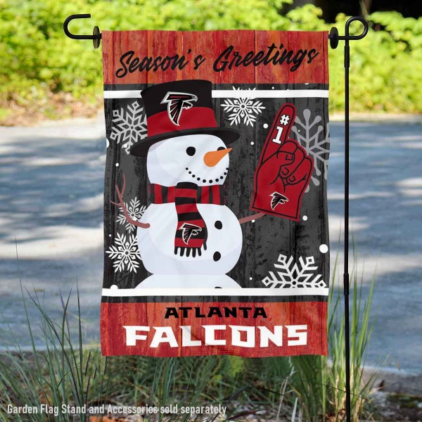 Atlanta Falcons Holiday Winter Snow Double Sided Garden Flag is 12.5x18 inches in size, is made of 2-ply polyester, and has two sided screen printed logos and lettering. Available with Express Next Day Ship, our Atlanta Falcons Holiday Winter Snow Double Sided Garden Flag is NFL Officially Licensed and is double sided.