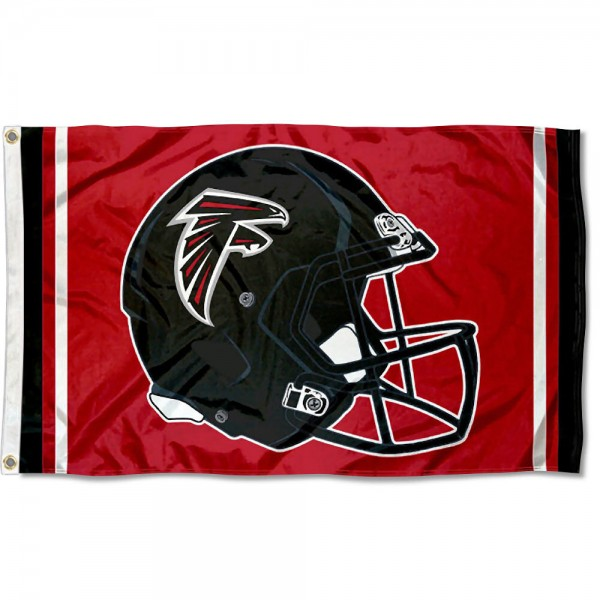 Our Atlanta Falcons New Helmet Flag is two sided, made of poly, 3'x5', Overnight Shipping, has two metal grommets, indoor or outdoor, and four-stitched fly ends. These Atlanta Falcons New Helmet Flags are Officially Approved by the Atlanta Falcons.