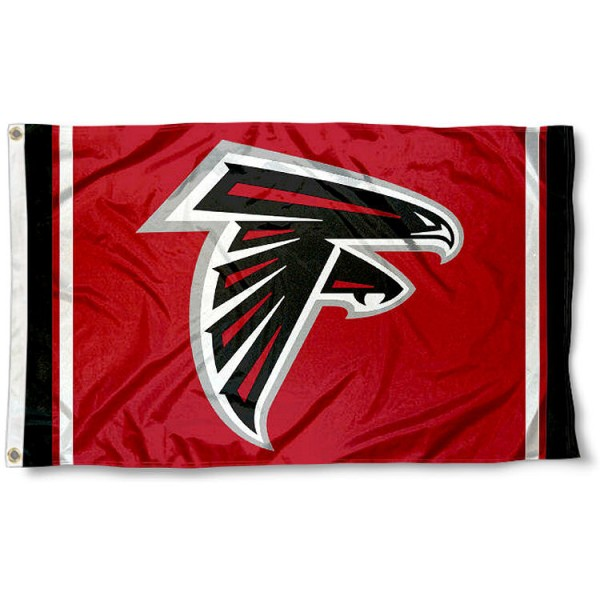 Our Atlanta Falcons Red Flag is double sided, made of poly, 3'x5', has two metal grommets, indoor or outdoor, and four-stitched fly ends. These Atlanta Falcons Red Flags are Officially Approved by the Atlanta Falcons.