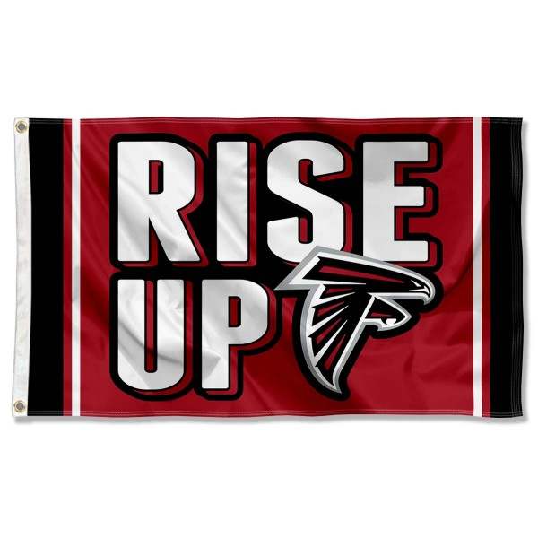 Our Atlanta Falcons Rise Up Flag is double sided, made of poly, 3'x5', has two metal grommets, indoor or outdoor, and four-stitched fly ends. These Atlanta Falcons Rise Up Flags are Officially Approved by the Atlanta Falcons.