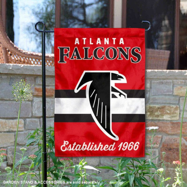 Atlanta Falcons Throwback Logo Double Sided Garden Flag Flag is 12.5x18 inches in size, is made of 2-ply polyester, and has two sided screen printed logos and lettering. Available with Express Next Day Ship, our Atlanta Falcons Throwback Logo Double Sided Garden Flag Flag is NFL Officially Licensed and is double sided.