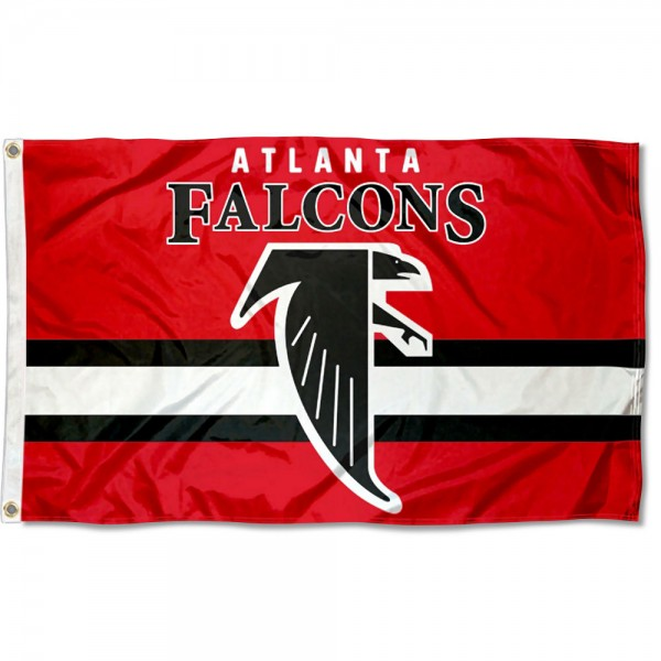 Our Atlanta Falcons Throwback Retro Vintage Logo Flag is double sided, made of poly, 3'x5', has two metal grommets, indoor or outdoor, and four-stitched fly ends. These Atlanta Falcons Throwback Retro Vintage Logo Flags are Officially Approved by the Atlanta Falcons.