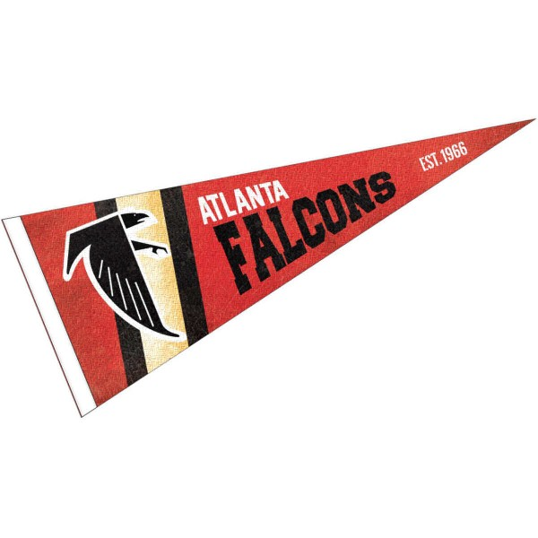 This Atlanta Falcons Throwback Vintage Retro Pennant is 12x30 inches, is made of premium felt blends, has a pennant stick sleeve, and the team logos are single sided screen printed. Our Atlanta Falcons Throwback Vintage Retro Pennant is NFL Officially Licensed.
