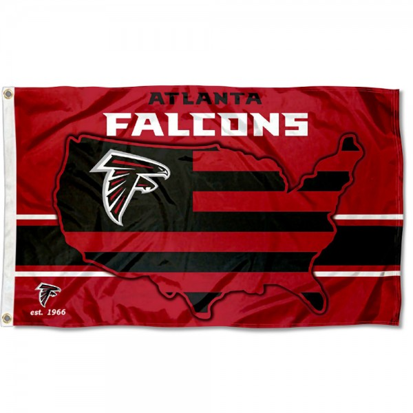 Our Atlanta Falcons USA Country Flag is double sided, made of poly, 3'x5', has two metal grommets, indoor or outdoor, and four-stitched fly ends. These Atlanta Falcons USA Country Flags are Officially Approved by the Atlanta Falcons.