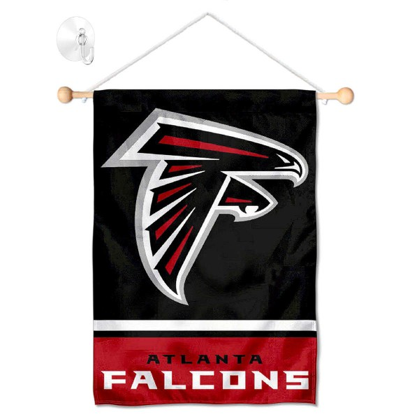 """Atlanta Falcons Window and Wall Banner kit includes our 12.5""""x18"""" garden banner which is made of 2 ply poly with liner and has screen printed licensed logos. Also, a 17"""" wide banner pole with suction cup is included so your Atlanta Falcons Window and Wall Banner is ready to be displayed with no tools needed for setup. Fast Overnight Shipping is offered and the flag is Officially Licensed and Approved by the selected team."""