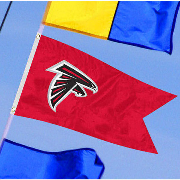 Atlanta Falcons Yacht Flag measures 12x18 inches, is made of two-ply polyesters, offers double stitched flyends for durability, has two metal grommets, and is viewable from both sides. Our Atlanta Falcons Yacht Flag is Officially Licensed by the NFL and Teams and can be used as a motorcycle flag, golf cart flag, or ATV flag.