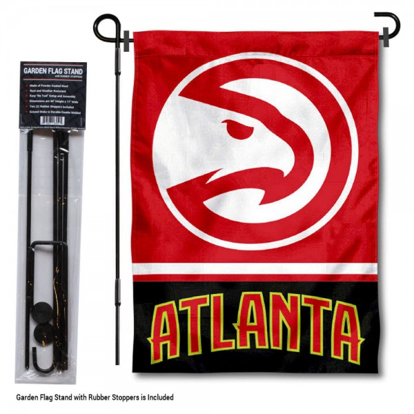 """Atlanta Hawks Garden Flag and Flagpole Stand kit includes our 12.5""""x18"""" garden banner which is made of 2 ply poly with liner and has screen printed licensed logos. Also, a 40""""x17"""" inch garden flag stand is included so your Atlanta Hawks Garden Flag and Flagpole Stand is ready to be displayed with no tools needed for setup. Fast Overnight Shipping is offered and the flag is Officially Licensed and Approved by the selected team."""
