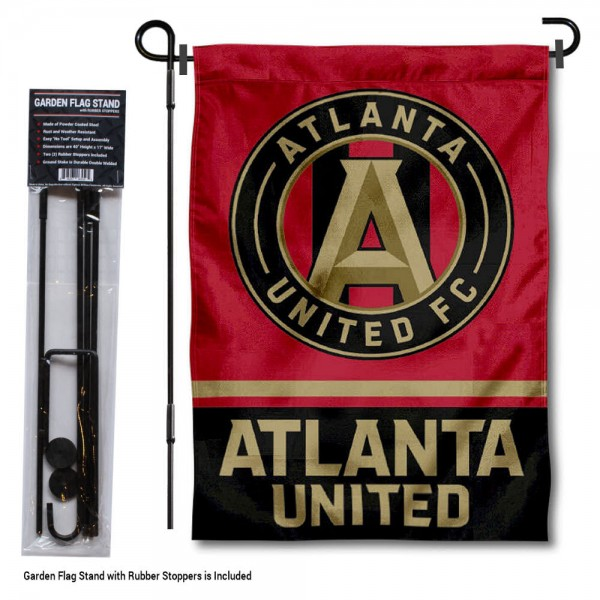 """Atlanta United FC Garden Flag and Flagpole Stand kit includes our 12.5""""x18"""" garden banner which is made of 2 ply poly with liner and has screen printed licensed logos. Also, a 40""""x17"""" inch garden flag stand is included so your Atlanta United FC Garden Flag and Flagpole Stand is ready to be displayed with no tools needed for setup. Fast Overnight Shipping is offered and the flag is Officially Licensed and Approved by the selected team."""