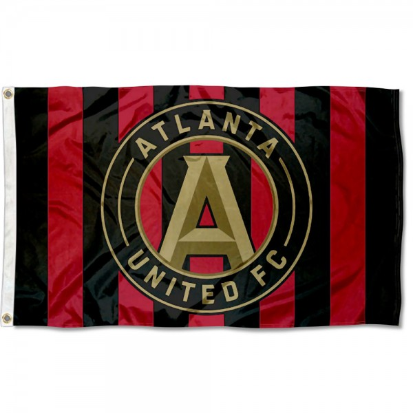 Atlanta United FC Jersey Stripes Flag measures 3x5 feet and offers quadruple stitched flyends. Atlanta United FC Jersey Stripes Flag is made of polyester, has two metal grommets, and is viewable from both sides with the opposite side being a reverse image. This Atlanta United FC Jersey Stripes Flag is Officially Licensed and MLS Approved.
