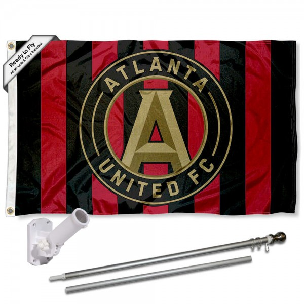 Our Atlanta United FC Jersey Stripes Flag Pole and Bracket Kit includes the flag as shown and the recommended flagpole and flag bracket. The flag is made of polyester, has quad-stitched flyends, and the MLS Licensed team logos are double sided screen printed. The flagpole and bracket are made of rust proof aluminum and includes all hardware so this kit is ready to install and fly.