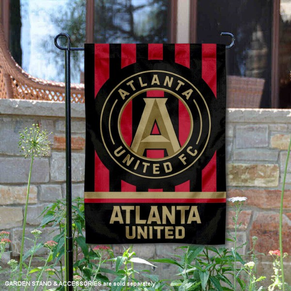 Atlanta United FC Jersey Stripes Garden Flag is 12.5x18 inches in size, is made of 2-ply polyester, and has two sided screen printed logos and lettering. Available with Express Next Day Shipping, our Atlanta United FC Jersey Stripes Garden Flag is MLS Genuine Merchandise and is double sided.