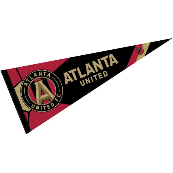 Atlanta United FC Pennant is our Full Size MLS soccer team pennant which measures 12x30 inches, is made of felt, and is single sided screen printed. Our Atlanta United FC Pennant is perfect for showing your MLS team allegiance in any room of the house and is MLS licensed.