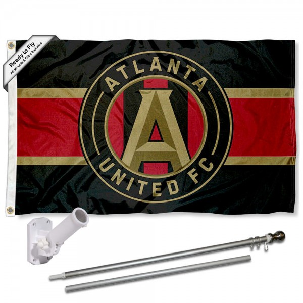 Our Atlanta United FC Stripes Flag Pole and Bracket Kit includes the flag as shown and the recommended flagpole and flag bracket. The flag is made of polyester, has quad-stitched flyends, and the MLS Licensed team logos are double sided screen printed. The flagpole and bracket are made of rust proof aluminum and includes all hardware so this kit is ready to install and fly.