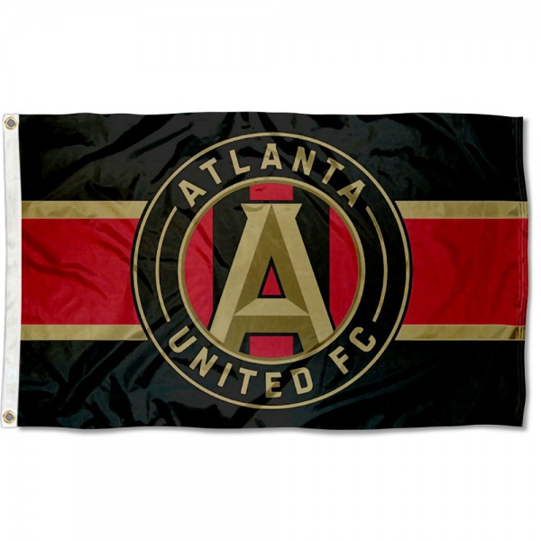 Atlanta United Football Club Black Flag measures 3x5 feet and offers quadruple stitched flyends. Atlanta United Football Club Black Flag is made of polyester, has two metal grommets, and is viewable from both sides with the opposite side being a reverse image. This Atlanta United Football Club Black Flag is Officially Licensed and MLS Approved.