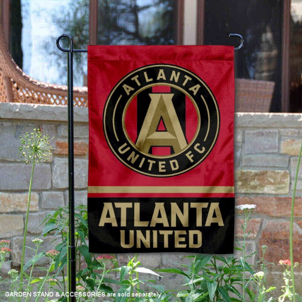 Atlanta United Football Club Garden Flag is 12.5x18 inches in size, is made of 2-ply polyester, and has two sided screen printed logos and lettering. Available with Express Next Day Shipping, our Atlanta United Football Club Garden Flag is MLS Genuine Merchandise and is double sided.