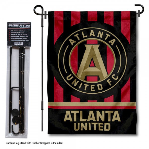 "Atlanta United Soccer Club Garden Flag and Flagpole Stand kit includes our 12.5""x18"" garden banner which is made of 2 ply poly with liner and has screen printed licensed logos. Also, a 40""x17"" inch garden flag stand is included so your Atlanta United Soccer Club Garden Flag and Flagpole Stand is ready to be displayed with no tools needed for setup. Fast Overnight Shipping is offered and the flag is Officially Licensed and Approved by the selected team."