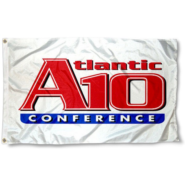 Atlantic 10 Conference Flag measures 3'x5', is made of 100% poly, has quadruple stitched sewing, two metal grommets, and has double sided Atlantic 10 Conference logos. Our Atlantic 10 Conference Flag is officially licensed by the selected Conference and the NCAA.
