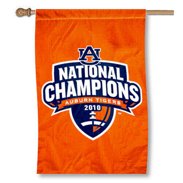 AU Tigers National Champions House Flag is double-sided, 30x40 inches, made of 2 ply poly, has a top sleeve for insertion of a flagpole or banner pole, and the Championship logos are screen printed into the AU Tigers National Champions House Flag. The AU Tigers National Champions House Flag is officially licensed by the NCAA and university.