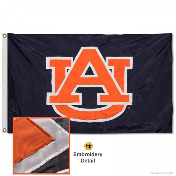 AU Tigers Nylon Embroidered Flag measures 3'x5', is made of 100% nylon, has quadruple flyends, two metal grommets, and has double sided appliqued and embroidered University logos. These AU Tigers 3x5 Flags are officially licensed by the selected university and the NCAA.