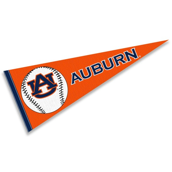 Auburn Baseball Pennant consists of our full size sports pennant which measures 12x30 inches, is constructed of felt, is single sided imprinted, and offers a pennant sleeve for insertion of a pennant stick, if desired. This Auburn Pennant Decorations is Officially Licensed by the selected university and the NCAA.
