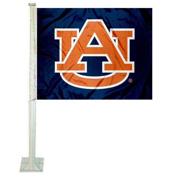 Auburn Blue Car Window Flag measures 12x15 inches, is constructed of sturdy 2 ply polyester, and has screen printed school logos which are readable and viewable correctly on both sides. Auburn Blue Car Window Flag is officially licensed by the NCAA and selected university.