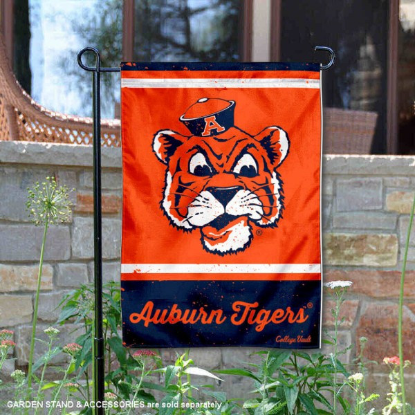 Auburn College Vault Logo Garden Flag is 12.5x18 inches in size, is made of 2-layer polyester, screen printed university athletic logos and lettering, and is readable and viewable correctly on both sides. Available same day shipping, our Auburn College Vault Logo Garden Flag is officially licensed and approved by the university and the NCAA.