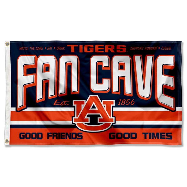 Auburn Fan Man Cave Game Room Banner Flag measures 3x5 feet, is made of 100% polyester, offers quadruple stitched flyends, has two metal grommets, and offers screen printed NCAA team logos and insignias. Our Auburn Fan Man Cave Game Room Banner Flag is officially licensed by the selected university and NCAA.