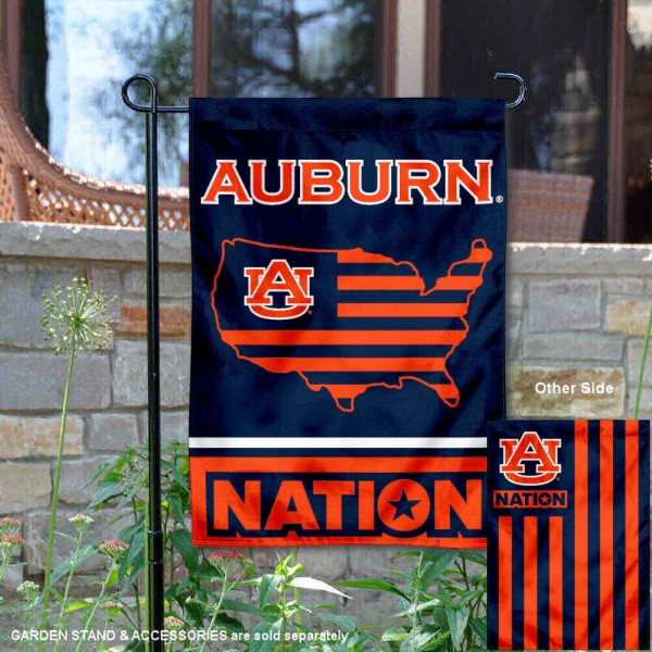 Auburn Garden Flag with USA Country Stars and Stripes is 13x18 inches in size, is made of 2-layer polyester, screen printed logos and lettering. Available with Same Day Express Shipping, Our Nation Yard Flag is officially licensed and approved by the NCAA.