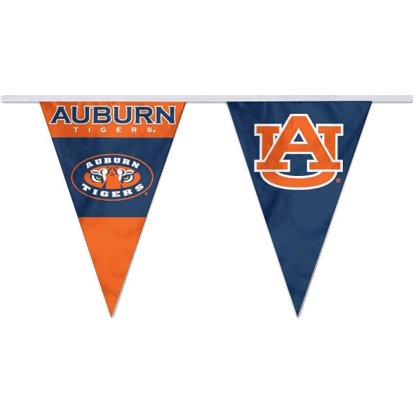 Auburn Pennant String Flags are 35 feet in total length, are made of polyester, includes 12x8 inch streamers, and are screen printed. Each is Offically Licensed.