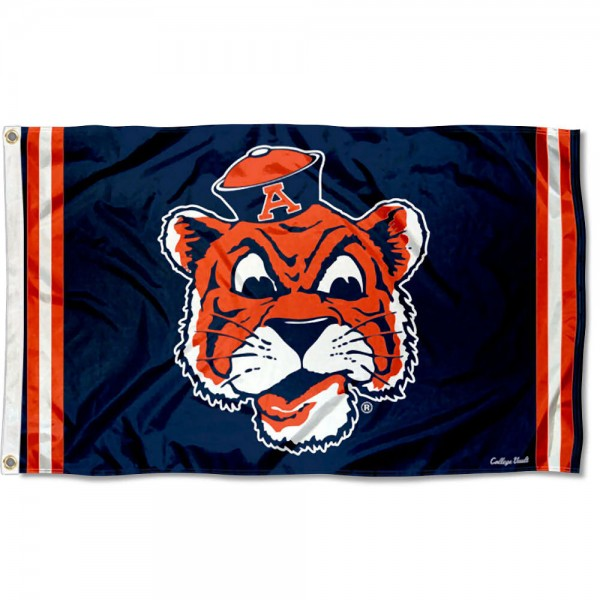 Auburn Throwback Vault Logo Flag measures 3x5 feet, is made of 100% polyester, offers quadruple stitched flyends, has two metal grommets, and offers screen printed NCAA team logos and insignias. Our Auburn Throwback Vault Logo Flag is officially licensed by the selected university and NCAA.