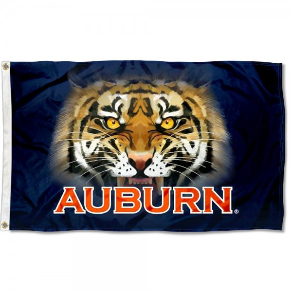 Auburn Tiger Eye Flag measures 3'x5', is made of 100% poly, has quadruple stitched sewing, two metal grommets, and has double sided Team University logos. Our Auburn Tigers 3x5 Flag is officially licensed by the selected university and the NCAA.
