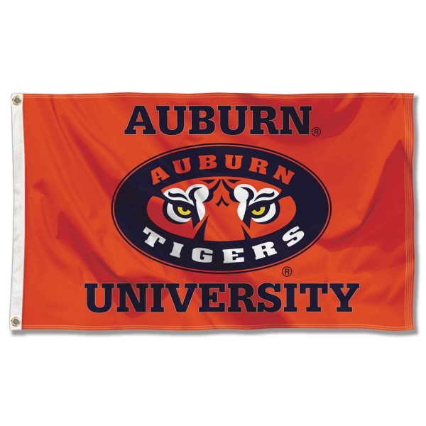 Auburn Tiger Eyes Flag measures 3x5 feet, is made of 100% polyester, offers quadruple stitched flyends, has two metal grommets, and offers screen printed NCAA team logos and insignias. Our Auburn Tiger Eyes Flag is officially licensed by the selected university and NCAA.
