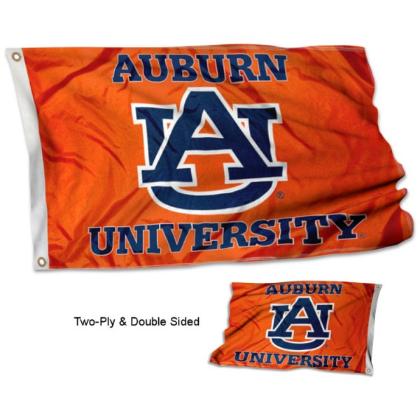 Auburn Tigers AU Double Sided 3x5 Flag measures 3'x5', is made of 2 layer 100% polyester, has quadruple stitched flyends for durability, and is readable correctly on both sides. Our Auburn Tigers AU Double Sided 3x5 Flag is officially licensed by the university, school, and the NCAA.