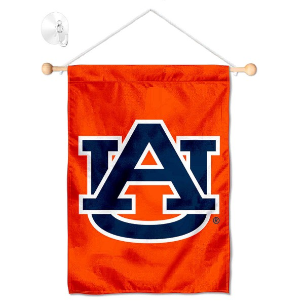 "Auburn Tigers Banner with Suction Cup kit includes our 13""x18"" garden banner which is made of 2 ply poly with liner and has screen printed licensed logos. Also, a 17"" wide banner pole with suction cup is included so your Auburn Tigers Banner with Suction Cup is ready to be displayed with no tools needed for setup. Fast Overnight Shipping is offered and the flag is Officially Licensed and Approved by the selected team."