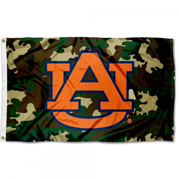 Auburn Tigers Camo Flag measures 3'x5', is made of 100% poly, has quadruple stitched sewing, two metal grommets, and has double sided Auburn University logos. Our Auburn Tigers Camo Flag is officially licensed by the selected university and the NCAA.