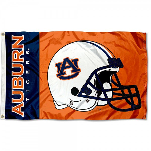Auburn Tigers College Football Flag measures 3x5 feet, is made of 100% polyester, offers a double stitched perimeter, has two metal grommets, and offers dye sublimated NCAA team logos and insignias. Our Auburn Tigers College Football Flag is officially licensed by the selected university and NCAA