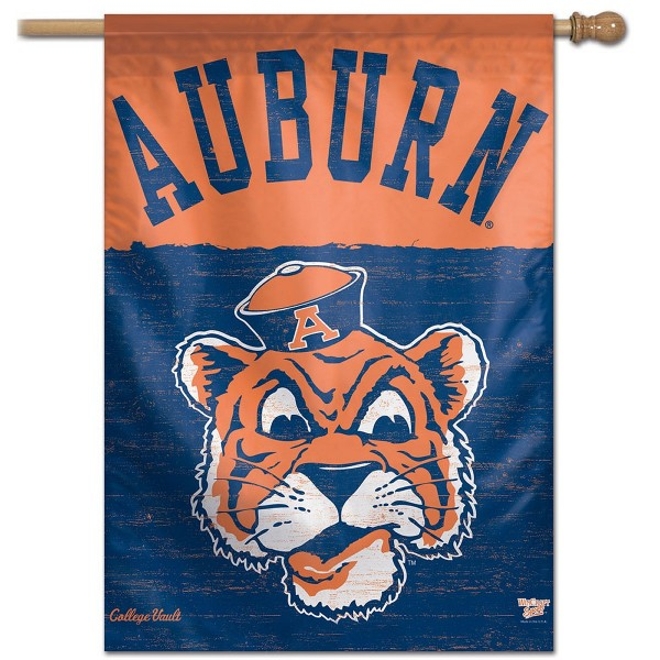 Auburn Tigers College Vault Logo House Flag is constructed of polyester material, is a vertical house flag, measures 28x40 inches, offers screen printed NCAA team insignias, and has a top pole sleeve to hang vertically. Our Auburn Tigers College Vault Logo House Flag is officially licensed by the selected university and NCAA.