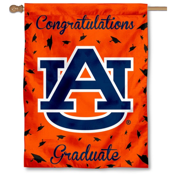 Auburn Tigers Congratulations Graduate Flag measures 30x40 inches, is made of poly, has a top hanging sleeve, and offers dye sublimated Auburn Tigers logos. This Decorative Auburn Tigers Congratulations Graduate House Flag is officially licensed by the NCAA.