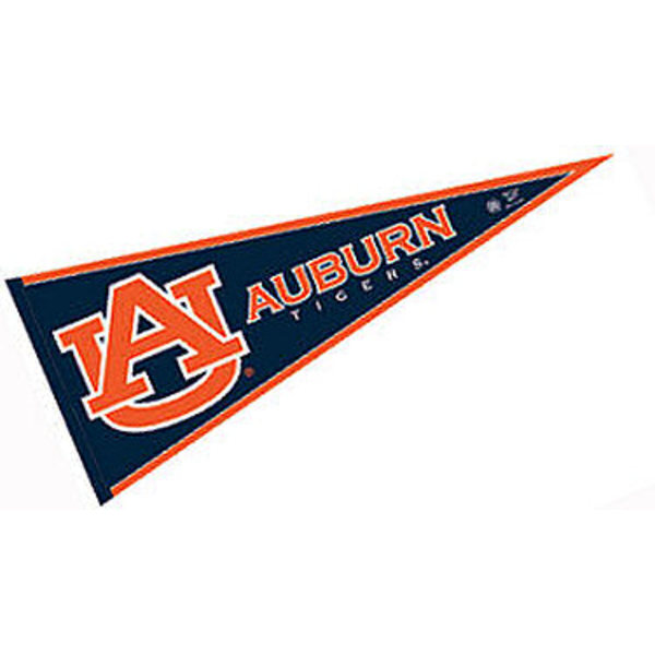 Auburn Tigers Decorations consists of our full size pennant which measures 12x30 inches, is constructed of felt, is single sided imprinted, and offers a pennant sleeve for insertion of a pennant stick, if desired. This Auburn Tigers Decorations is officially licensed by the selected university and the NCAA