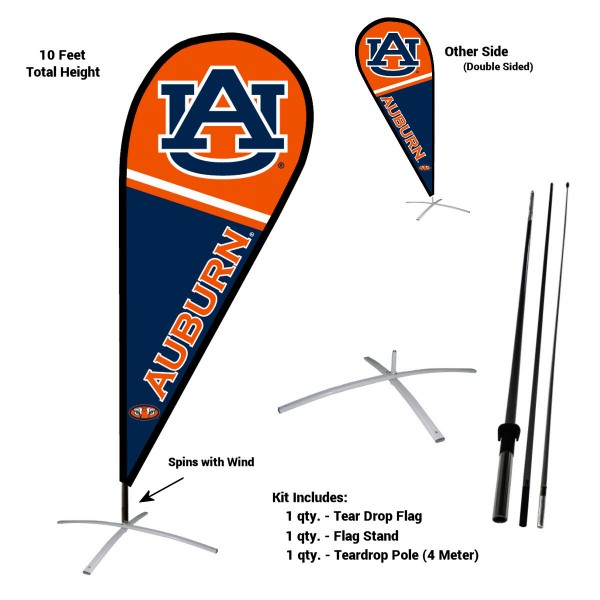 Auburn Tigers Feather Flag Kit measures a tall 10' when fully assembled. The kit includes a Feather Flag, 3 Piece Fiberglass Pole, and matching Metal Feather Flag Stand. Our Auburn Tigers Feather Flag Kit easily assembles and is NCAA Officially Licensed by the selected school or university.