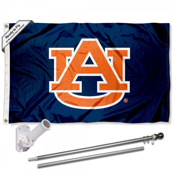Our Auburn Tigers Flag Pole and Bracket Kit includes the flag as shown and the recommended flagpole and flag bracket. The flag is made of polyester, has quad-stitched flyends, and the NCAA Licensed team logos are double sided screen printed. The flagpole and bracket are made of rust proof aluminum and includes all hardware so this kit is ready to install and fly.