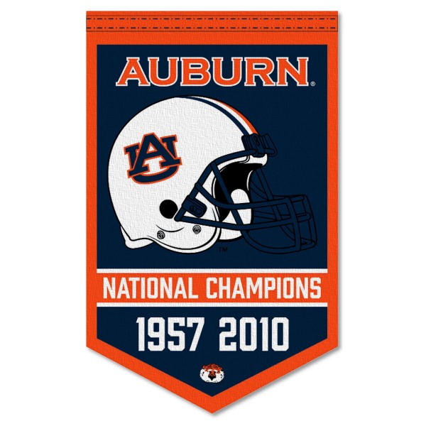 Auburn Tigers Football National Champions Banner consists of our sports dynasty year banner which measures 15x24 inches, is constructed of rigid felt, is single sided imprinted, and offers a pennant sleeve for insertion of a pennant stick, if desired. This sports banner is a unique collectible and keepsake of the legacy game and is Officially Licensed and University, School, and College Approved.