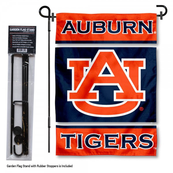 "Auburn Tigers Garden Flag and Stand kit includes our 13""x18"" garden banner which is made of 2 ply poly with liner and has screen printed licensed logos. Also, a 40""x17"" inch garden flag stand is included so your Auburn Tigers Garden Flag and Stand is ready to be displayed with no tools needed for setup. Fast Overnight Shipping is offered and the flag is Officially Licensed and Approved by the selected team."