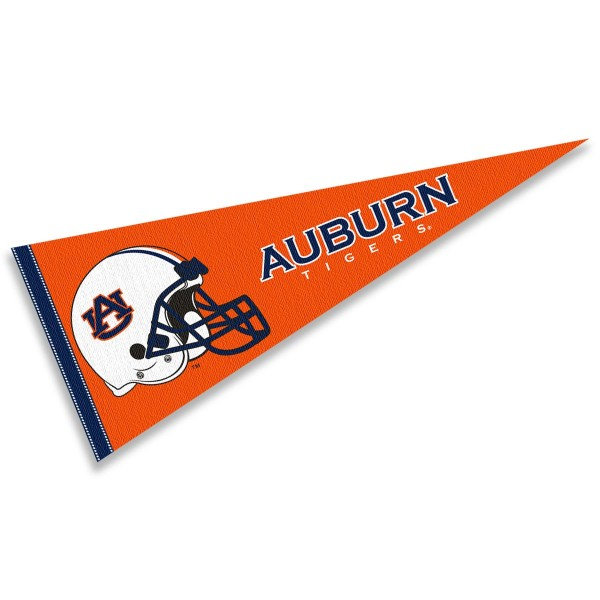 Auburn Tigers Helmet Pennant consists of our full size sports pennant which measures 12x30 inches, is constructed of felt, is single sided imprinted, and offers a pennant sleeve for insertion of a pennant stick, if desired. This Auburn Tigers Pennant Decorations is Officially Licensed by the selected university and the NCAA.