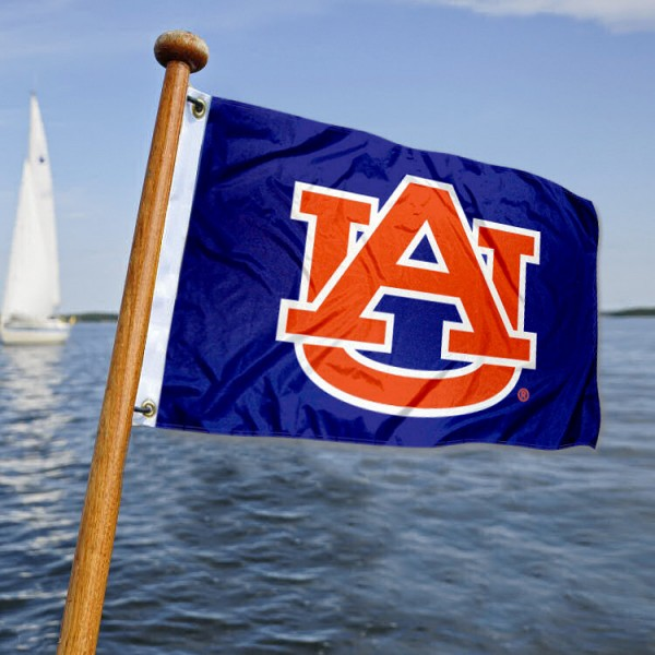 Auburn Tigers Nautical Flag measures 12x18 inches, is made of two-ply polyesters, offers quadruple stitched flyends for durability, has two metal grommets, and is viewable from both sides. Our Auburn Tigers Nautical Flag is officially licensed by the selected university and the NCAA and can be used as a motorcycle flag, golf cart flag, or ATV flag