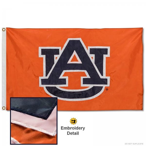 Auburn Tigers Nylon Embroidered Flag measures 3'x5', is made of 100% nylon, has quadruple flyends, two metal grommets, and has double sided appliqued and embroidered University logos. These Auburn Tigers 3x5 Flags are officially licensed by the selected university and the NCAA.