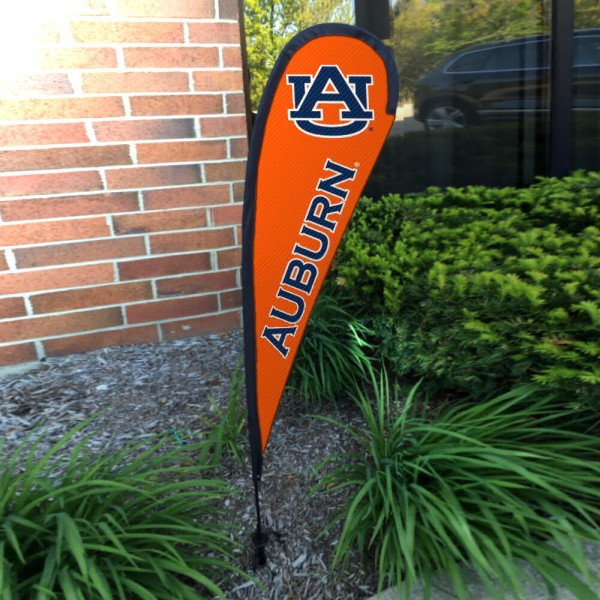 Auburn Tigers Small Feather Flag measures a 4' tall when fully assembled and roughly 1' wide. The kit includes a Feather Flag, 2 Piece Fiberglass Pole, pole connector, and matching Ground Stake. Our Auburn Tigers Small Feather Flag easily assembles and is NCAA Officially Licensed by the selected school or university.