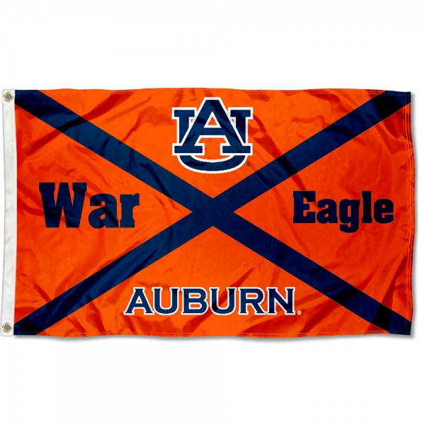 Auburn Tigers State of Alabama Flag measures 3x5 feet, is made of 100% polyester, offers quadruple stitched flyends, has two metal grommets, and offers screen printed NCAA team logos and insignias. Our Auburn Tigers State of Alabama Flag is officially licensed by the selected university and NCAA.